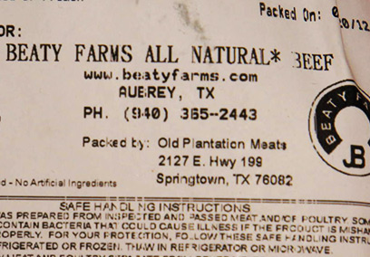 Beaty Farms Package Label